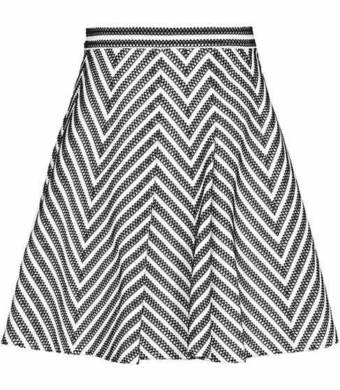Sandra Stripe Print Skirt - length: mid thigh; fit: body skimming; waist: mid/regular rise; secondary colour: white; predominant colour: black; occasions: casual; style: fit & flare; fibres: polyester/polyamide - stretch; pattern type: fabric; pattern: patterned/print; texture group: jersey - stretchy/drapey; season: s/s 2016; wardrobe: highlight