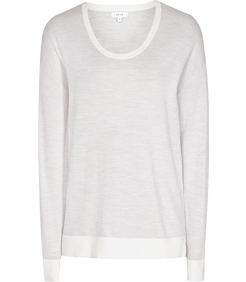 Rainey Scoop Neck Knit - neckline: round neck; pattern: plain; style: standard; predominant colour: white; occasions: casual; length: standard; fibres: wool - 100%; fit: slim fit; sleeve length: long sleeve; sleeve style: standard; texture group: knits/crochet; pattern type: fabric; season: s/s 2016; wardrobe: basic