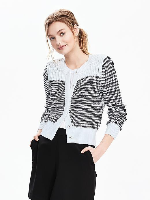 Stripe Tape Yarn Cardigan White - neckline: round neck; pattern: horizontal stripes; secondary colour: white; predominant colour: black; occasions: casual; length: standard; style: standard; fibres: cotton - 100%; fit: slim fit; sleeve length: long sleeve; sleeve style: standard; texture group: knits/crochet; pattern type: fabric; multicoloured: multicoloured; season: s/s 2016; wardrobe: highlight; embellishment location: bust