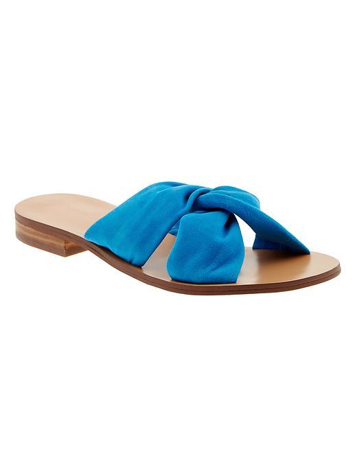Karolina Suede Slide Sandal Laser Blue - predominant colour: royal blue; occasions: casual, holiday; material: suede; heel height: flat; heel: standard; toe: open toe/peeptoe; style: slides; finish: plain; pattern: plain; season: s/s 2016; wardrobe: highlight