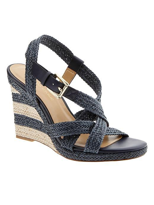 Raine Espadrille Wedge Navy - predominant colour: navy; occasions: casual, holiday; material: leather; heel height: high; heel: wedge; toe: open toe/peeptoe; style: strappy; finish: plain; pattern: plain; season: s/s 2016; wardrobe: investment