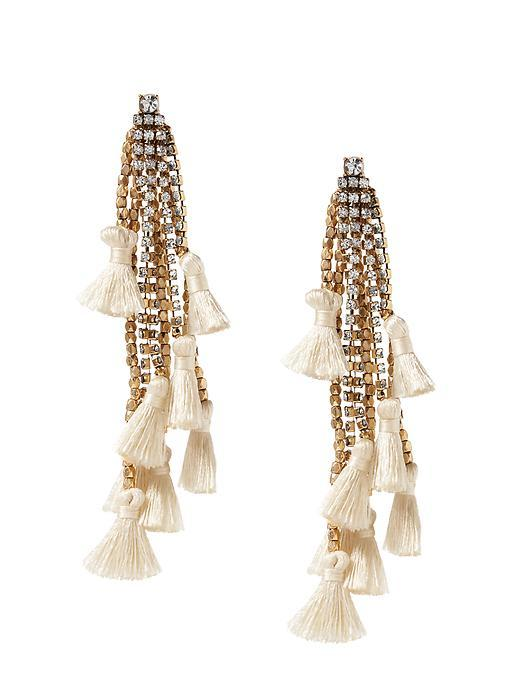 Tassel Drop Earring Cream - secondary colour: ivory/cream; predominant colour: gold; occasions: evening, occasion; style: drop; length: long; size: large/oversized; material: chain/metal; fastening: pierced; finish: plain; embellishment: tassels; season: s/s 2016