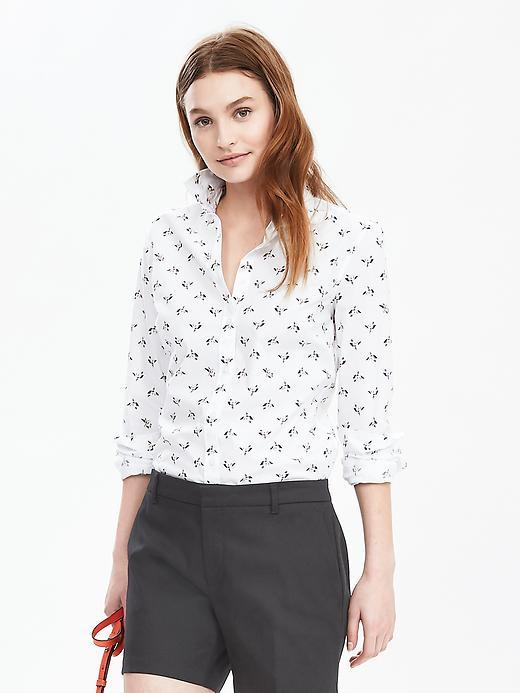 Riley Fit Print Shirt White Print - neckline: shirt collar/peter pan/zip with opening; style: shirt; predominant colour: white; secondary colour: mid grey; occasions: casual; length: standard; fibres: cotton - 100%; fit: body skimming; sleeve length: long sleeve; sleeve style: standard; trends: monochrome; texture group: cotton feel fabrics; pattern type: fabric; pattern size: standard; pattern: patterned/print; multicoloured: multicoloured; season: s/s 2016; wardrobe: highlight