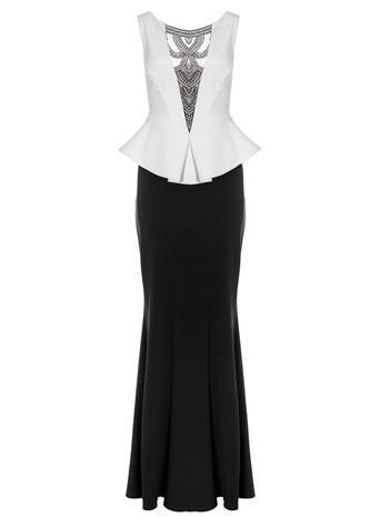 Womens **Quiz Diamante Fishtail Maxi Dress Black - neckline: round neck; fit: tailored/fitted; sleeve style: sleeveless; style: maxi dress; secondary colour: white; predominant colour: black; length: floor length; fibres: polyester/polyamide - 100%; occasions: occasion; sleeve length: sleeveless; trends: monochrome; pattern type: fabric; pattern: colourblock; texture group: other - light to midweight; embellishment: crystals/glass; season: s/s 2016; wardrobe: event; embellishment location: bust
