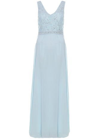 Womens **Quiz V Neck Embellished Maxi Dress Blue - neckline: v-neck; sleeve style: standard vest straps/shoulder straps; pattern: plain; style: maxi dress; length: ankle length; predominant colour: pale blue; secondary colour: silver; occasions: evening; fit: fitted at waist & bust; fibres: polyester/polyamide - 100%; sleeve length: sleeveless; texture group: sheer fabrics/chiffon/organza etc.; pattern type: fabric; embellishment: beading; season: s/s 2016; wardrobe: event; embellishment location: bust