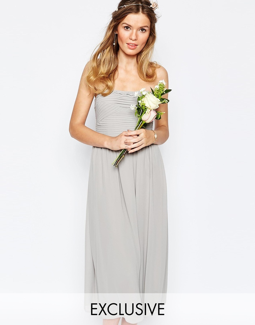 Bandeau Midi Dress Dove Grey - length: below the knee; neckline: strapless (straight/sweetheart); pattern: plain; sleeve style: strapless; predominant colour: light grey; fit: fitted at waist & bust; style: fit & flare; fibres: polyester/polyamide - 100%; occasions: occasion; sleeve length: sleeveless; texture group: sheer fabrics/chiffon/organza etc.; pattern type: fabric; season: s/s 2016; wardrobe: event