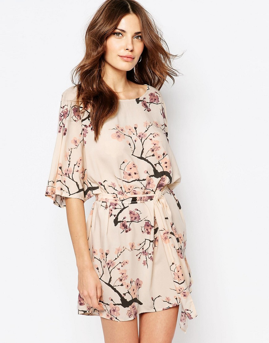 Blossom Print Dress Pink Tint - style: shift; length: mid thigh; neckline: round neck; fit: fitted at waist; predominant colour: blush; secondary colour: black; fibres: viscose/rayon - 100%; occasions: occasion; sleeve length: half sleeve; sleeve style: standard; pattern type: fabric; pattern size: standard; pattern: patterned/print; texture group: other - light to midweight; season: s/s 2016; wardrobe: event