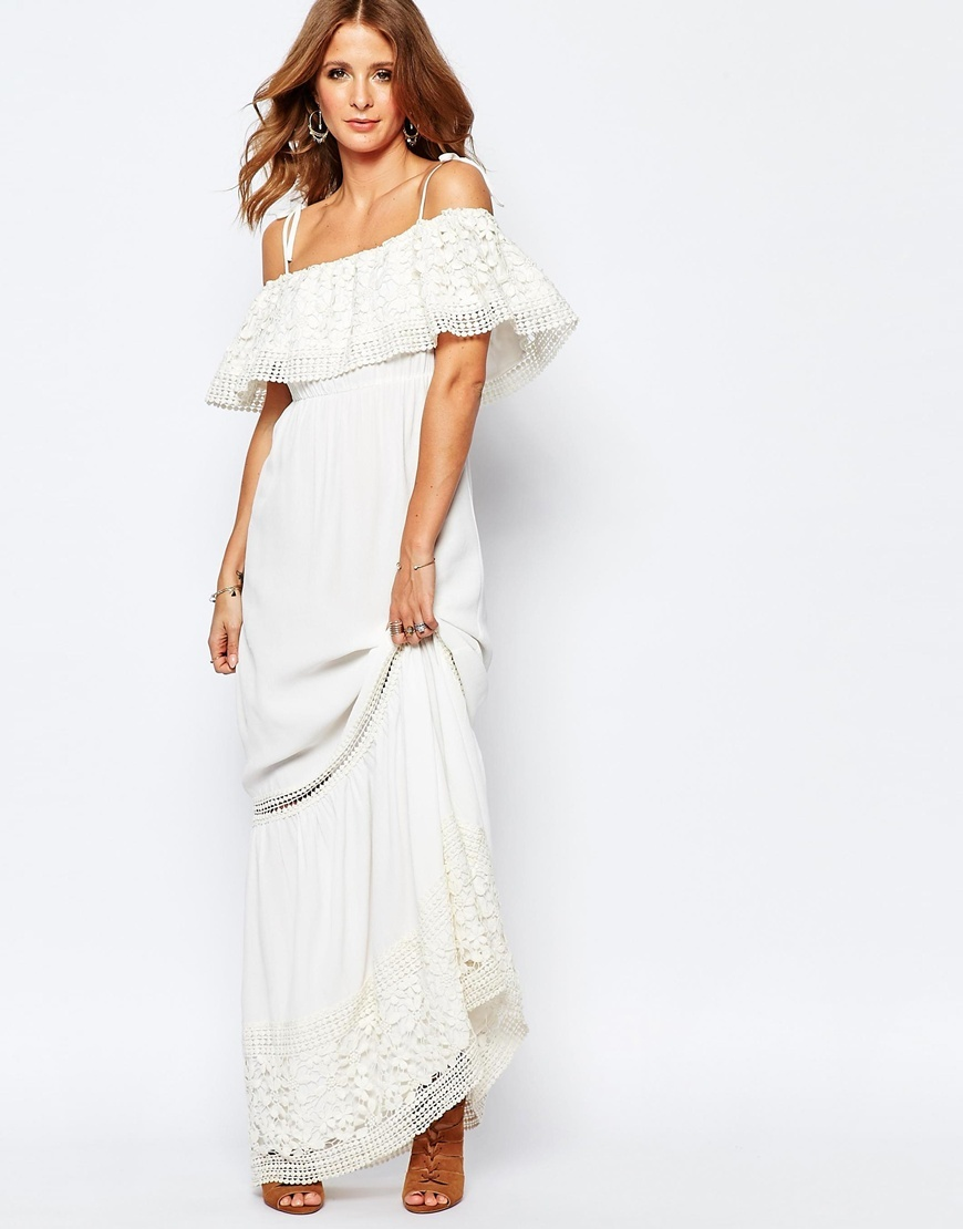 Embroidered Maxi Dress White - neckline: off the shoulder; sleeve style: angel/waterfall; fit: empire; pattern: plain; style: maxi dress; length: ankle length; predominant colour: white; occasions: casual, occasion, holiday; fibres: viscose/rayon - 100%; sleeve length: short sleeve; texture group: cotton feel fabrics; pattern type: fabric; embellishment: embroidered; season: s/s 2016; wardrobe: highlight