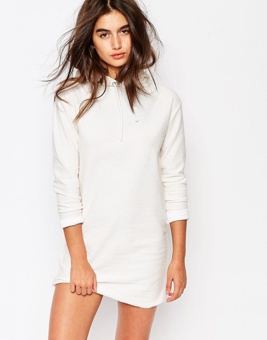 Hooded Sweat Dress White - style: shift; length: mini; pattern: plain; neckline: high neck; predominant colour: white; occasions: casual; fit: body skimming; fibres: polyester/polyamide - stretch; sleeve length: long sleeve; sleeve style: standard; pattern type: fabric; texture group: other - light to midweight; season: s/s 2016; wardrobe: basic
