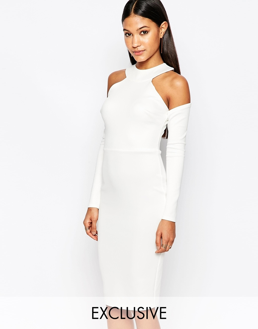 High Neck Cold Shoulder Scuba Dress White - length: below the knee; fit: tight; pattern: plain; style: bodycon; hip detail: draws attention to hips; predominant colour: white; occasions: evening; fibres: polyester/polyamide - stretch; neckline: crew; shoulder detail: cut out shoulder; sleeve length: long sleeve; sleeve style: standard; texture group: jersey - clingy; pattern type: fabric; season: s/s 2016; wardrobe: event
