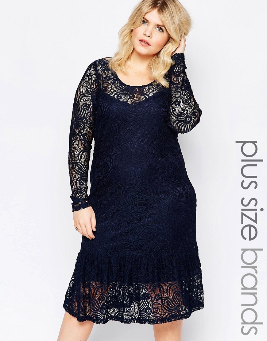 Long Sleeve Lace Detail Dress Navy - style: shift; length: mid thigh; predominant colour: navy; occasions: evening, occasion; fit: body skimming; neckline: scoop; fibres: polyester/polyamide - 100%; sleeve length: long sleeve; sleeve style: standard; texture group: lace; pattern type: fabric; pattern size: standard; pattern: patterned/print; season: s/s 2016; wardrobe: event