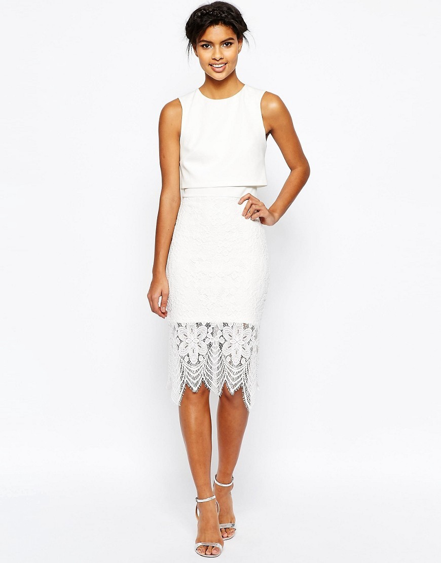 Scuba Crop Top Lace Midi Pencil Dress Ivory - style: shift; length: below the knee; fit: tailored/fitted; sleeve style: sleeveless; predominant colour: ivory/cream; occasions: evening, occasion; fibres: polyester/polyamide - 100%; neckline: crew; sleeve length: sleeveless; texture group: lace; pattern type: fabric; pattern size: standard; pattern: patterned/print; season: s/s 2016; wardrobe: event; embellishment location: hip