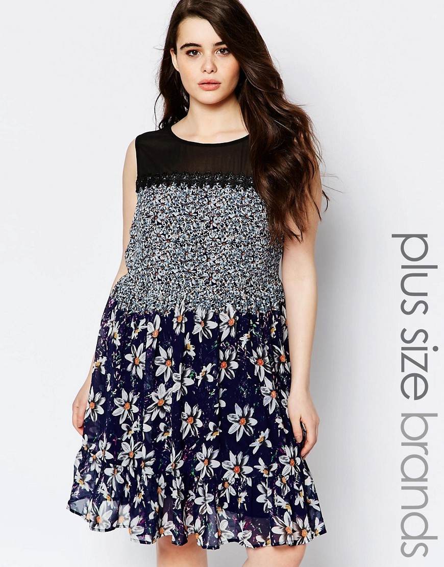 Plus Floral Swing Dress With Crochet And Mesh Neck Detail Print - style: trapeze; neckline: round neck; fit: loose; sleeve style: sleeveless; secondary colour: white; predominant colour: navy; occasions: casual; length: on the knee; fibres: polyester/polyamide - 100%; hip detail: adds bulk at the hips; sleeve length: sleeveless; texture group: sheer fabrics/chiffon/organza etc.; pattern type: fabric; pattern size: standard; pattern: florals; multicoloured: multicoloured; season: s/s 2016; wardrobe: highlight; embellishment: contrast fabric; embellishment location: shoulder