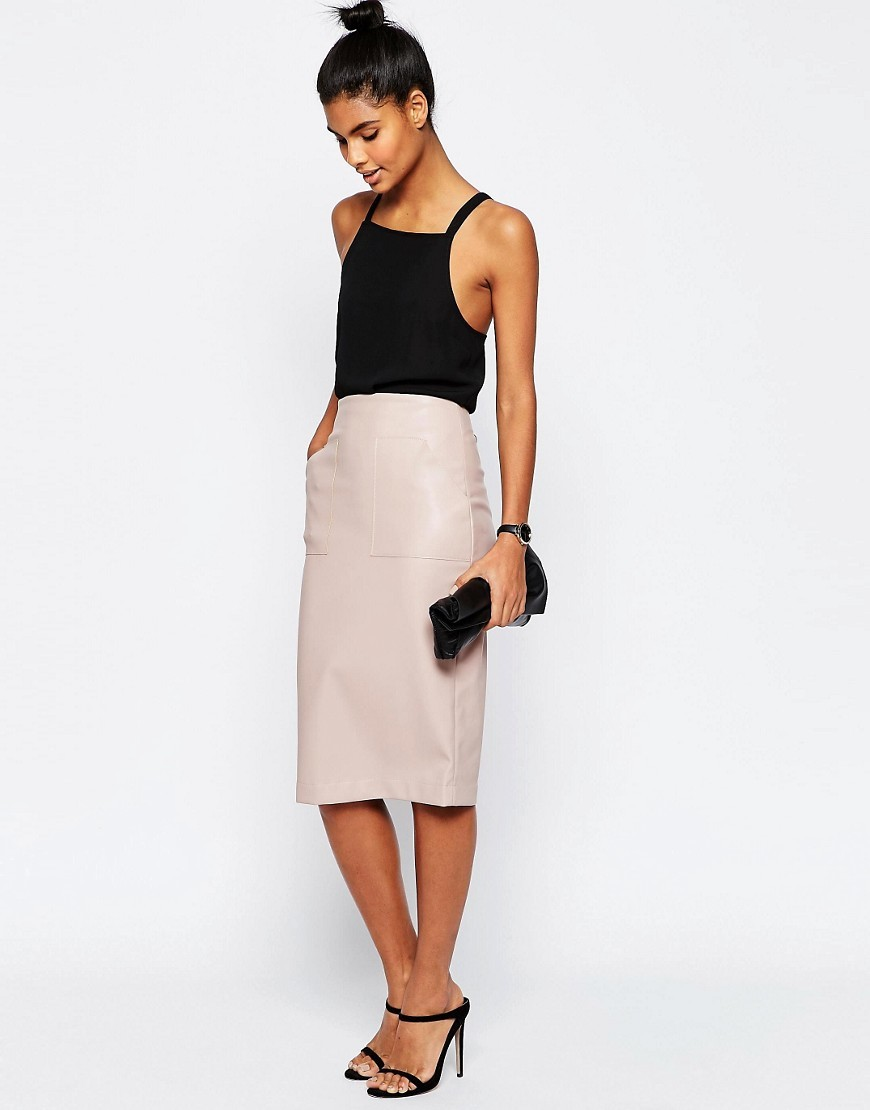 Pu Pencil Skirt With Pocket Detail Mink - length: below the knee; pattern: plain; style: pencil; fit: body skimming; waist: mid/regular rise; predominant colour: blush; occasions: evening; texture group: leather; pattern type: fabric; fibres: pvc/polyurethene - 100%; season: s/s 2016; wardrobe: event