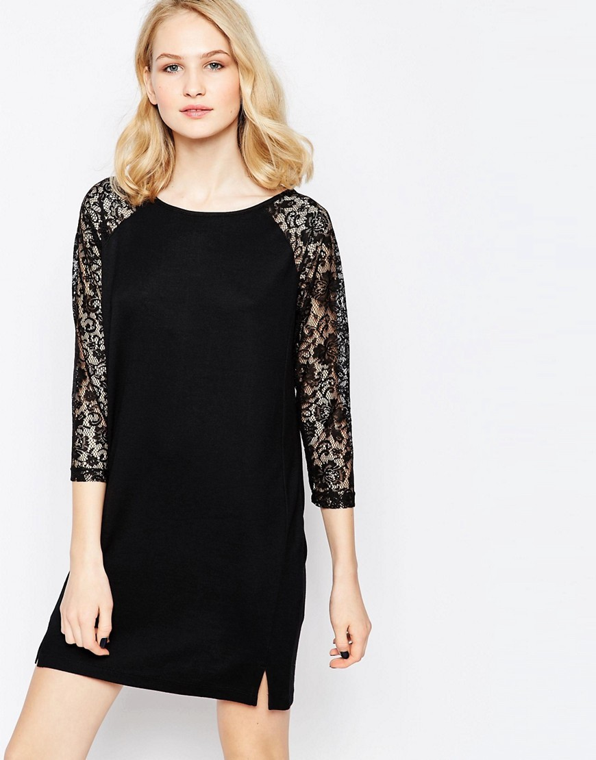 Lotte Lace T Shirt Dress Black - style: shift; length: mid thigh; neckline: round neck; pattern: plain; predominant colour: black; occasions: evening; fit: body skimming; sleeve length: 3/4 length; sleeve style: standard; texture group: lace; pattern type: fabric; fibres: viscose/rayon - mix; embellishment: lace; shoulder detail: sheer at shoulder; season: s/s 2016; wardrobe: event