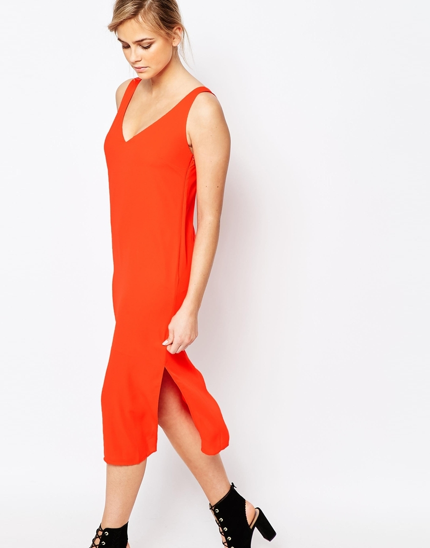 V Bar Back Column Midi Dress Orange - style: shift; length: calf length; neckline: v-neck; pattern: plain; sleeve style: sleeveless; hip detail: draws attention to hips; predominant colour: bright orange; occasions: evening; fit: body skimming; fibres: polyester/polyamide - 100%; sleeve length: sleeveless; pattern type: fabric; texture group: jersey - stretchy/drapey; season: s/s 2016; wardrobe: event