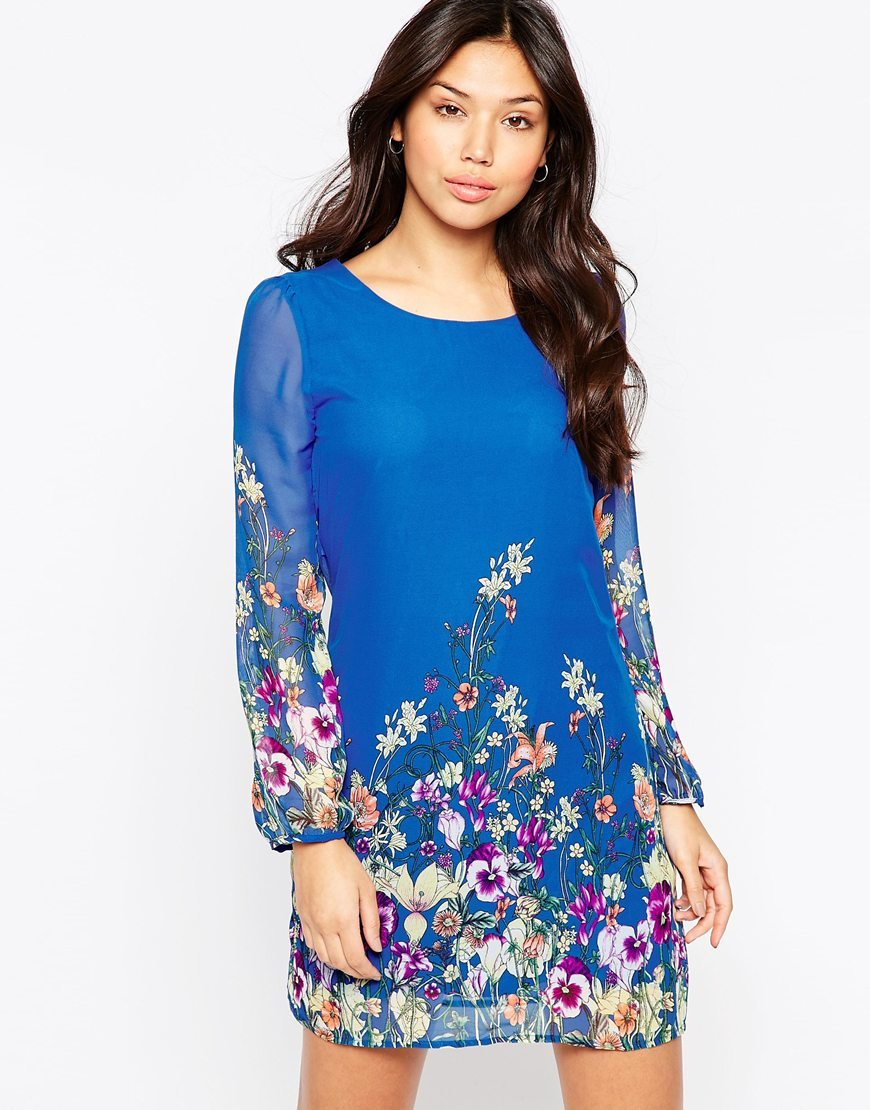 Long Sleeve Garden Print Shift Dress Cobalt Blue - style: tunic; length: mid thigh; secondary colour: magenta; predominant colour: royal blue; occasions: casual, creative work; fit: soft a-line; neckline: scoop; fibres: polyester/polyamide - 100%; sleeve length: long sleeve; sleeve style: standard; texture group: sheer fabrics/chiffon/organza etc.; pattern type: fabric; pattern: patterned/print; multicoloured: multicoloured; season: s/s 2016; wardrobe: highlight