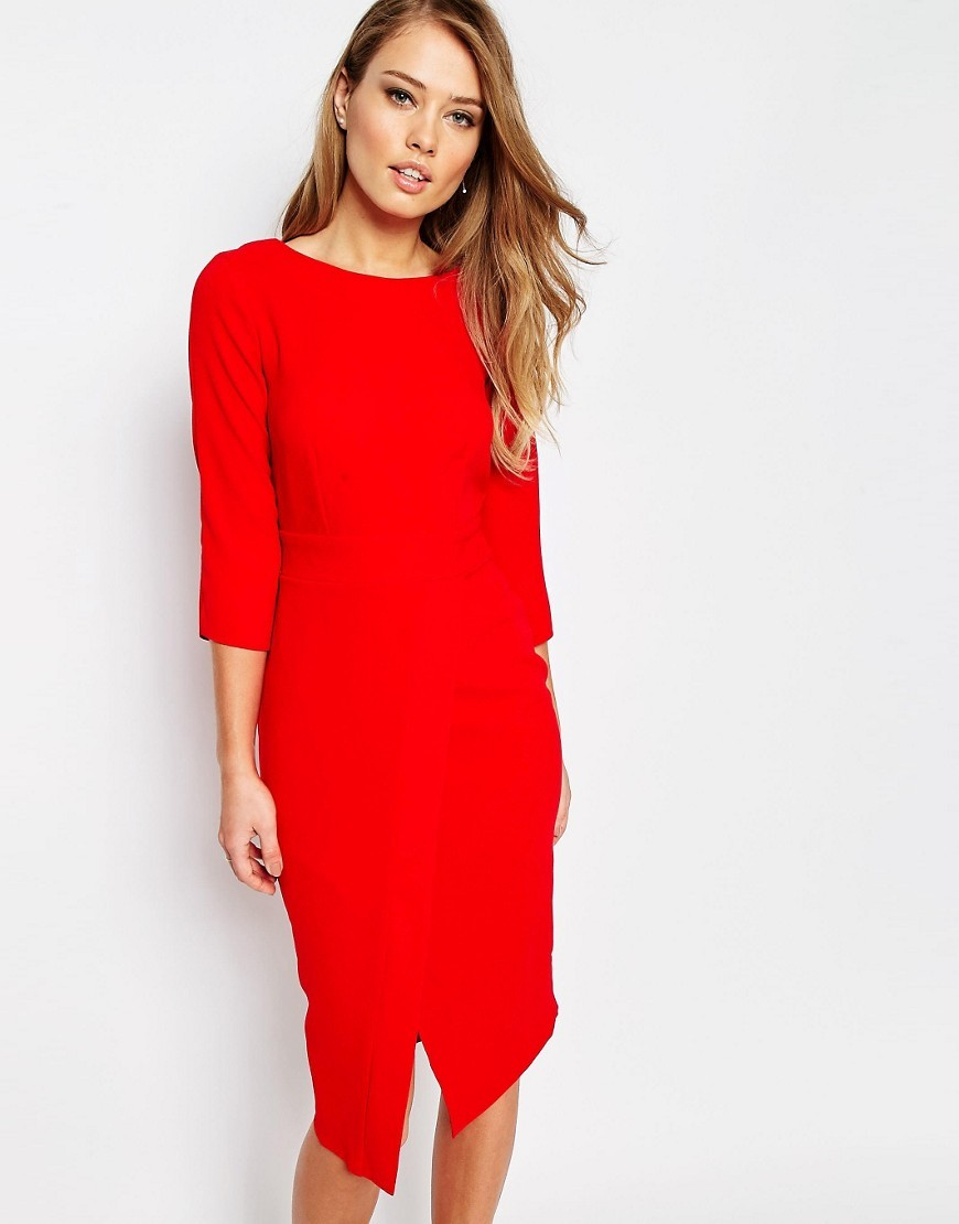 Closet 3/4 Midi Dress With Wrap Front Red - style: shift; length: below the knee; neckline: slash/boat neckline; fit: tailored/fitted; pattern: plain; hip detail: draws attention to hips; predominant colour: true red; occasions: evening, occasion; fibres: polyester/polyamide - 100%; sleeve length: 3/4 length; sleeve style: standard; texture group: crepes; pattern type: fabric; pattern size: standard; season: s/s 2016; wardrobe: event