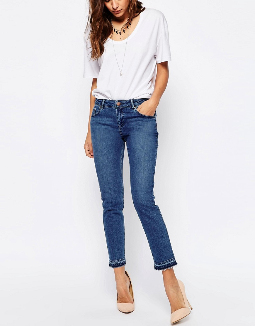 Kimmi Shrunken Boyfriend Jeans With Let Down Hem In Mid Wash Blue Midwash Blue - style: boyfriend; pattern: plain; waist: high rise; pocket detail: traditional 5 pocket; predominant colour: navy; occasions: casual; length: ankle length; fibres: cotton - stretch; texture group: denim; pattern type: fabric; season: s/s 2016