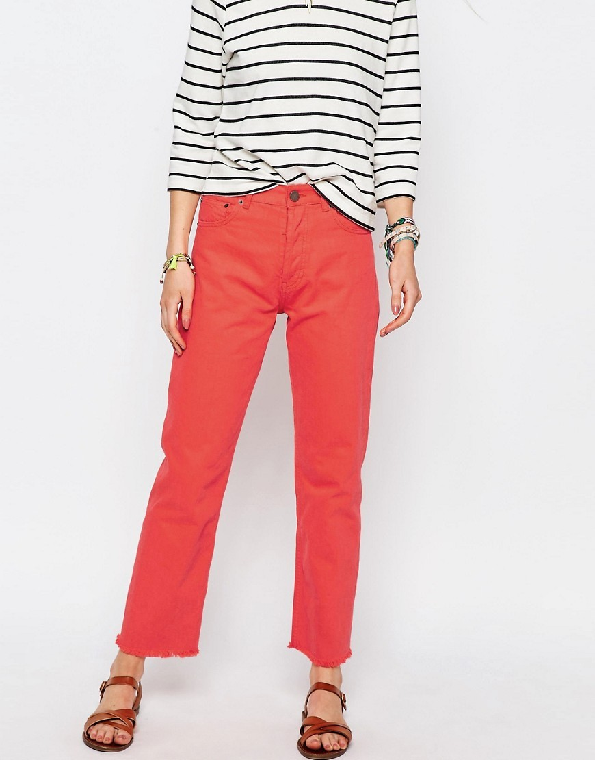 Florence Authentic Straight Leg Jean In Tangerine With Raw Hem Tangerine - style: skinny leg; length: standard; pattern: plain; waist: high rise; pocket detail: traditional 5 pocket; predominant colour: bright orange; occasions: casual; fibres: cotton - stretch; texture group: denim; pattern type: fabric; season: s/s 2016; wardrobe: highlight