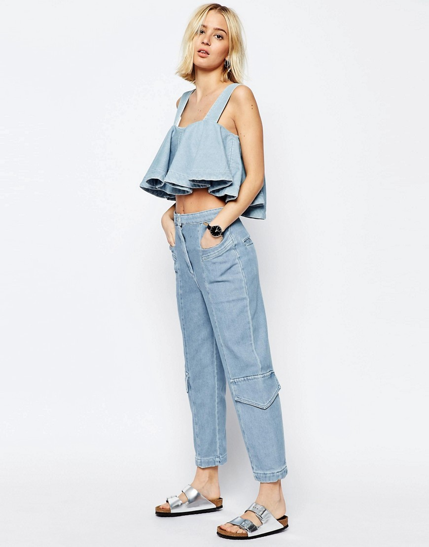 Denim Utility Trousers Blue - pattern: plain; waist: high rise; pocket detail: pockets at the sides; predominant colour: pale blue; occasions: casual; length: ankle length; fibres: cotton - 100%; texture group: denim; fit: straight leg; pattern type: fabric; style: standard; season: s/s 2016; wardrobe: highlight