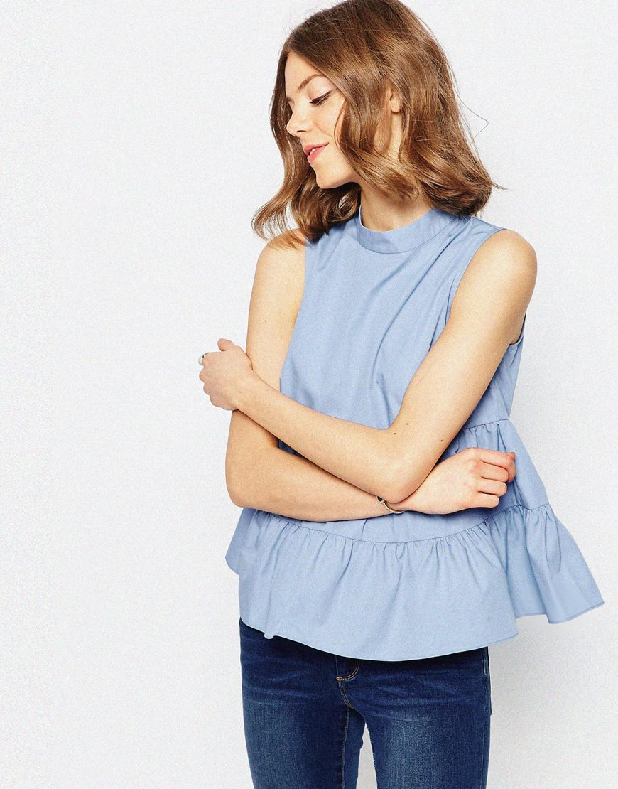 High Neck Sleeveless Tiered Cotton Top Denim Blue - pattern: plain; sleeve style: sleeveless; neckline: high neck; predominant colour: pale blue; occasions: casual; length: standard; style: top; fibres: cotton - 100%; fit: loose; sleeve length: sleeveless; texture group: cotton feel fabrics; pattern type: fabric; season: s/s 2016