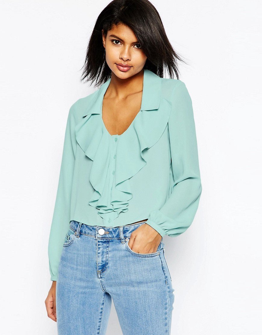 Cropped Ruffle Blouse Green - neckline: v-neck; pattern: plain; sleeve style: balloon; style: blouse; predominant colour: pistachio; occasions: casual, creative work; length: standard; fibres: polyester/polyamide - 100%; fit: loose; sleeve length: long sleeve; texture group: crepes; bust detail: bulky details at bust; pattern type: fabric; season: s/s 2016; wardrobe: highlight