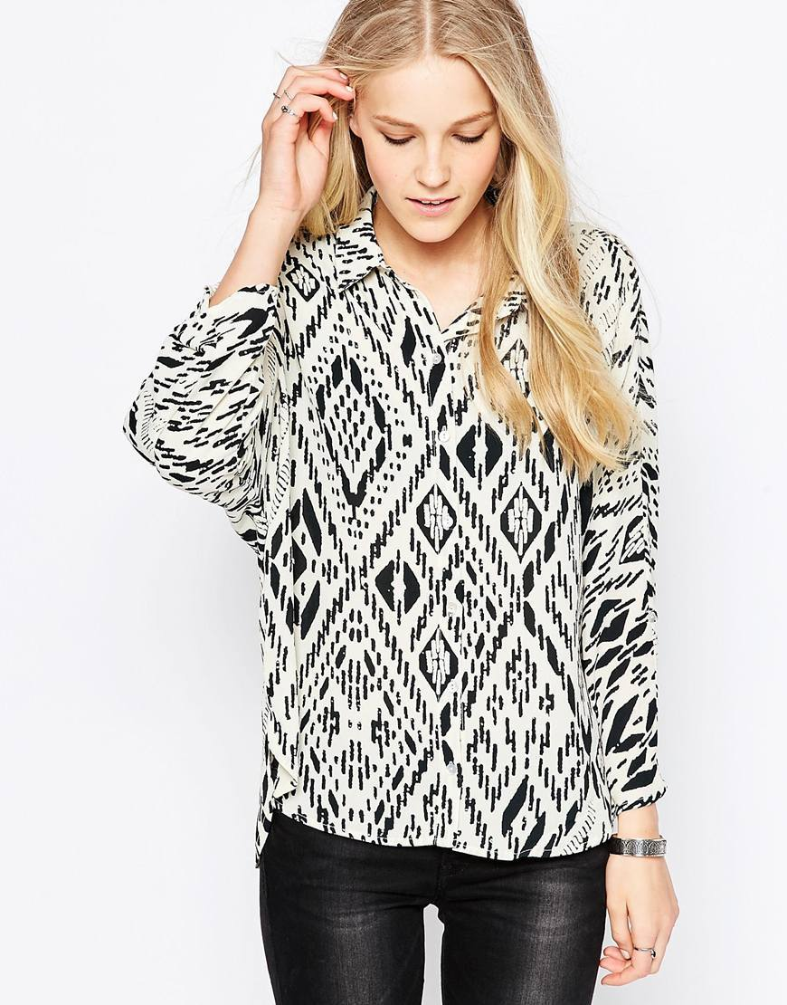 Aztec Print Shirt Bone White W. Aop - neckline: shirt collar/peter pan/zip with opening; style: shirt; predominant colour: white; secondary colour: black; occasions: casual; length: standard; fibres: polyester/polyamide - 100%; fit: loose; sleeve length: long sleeve; sleeve style: standard; trends: monochrome; texture group: cotton feel fabrics; pattern type: fabric; pattern: patterned/print; multicoloured: multicoloured; season: s/s 2016; wardrobe: highlight