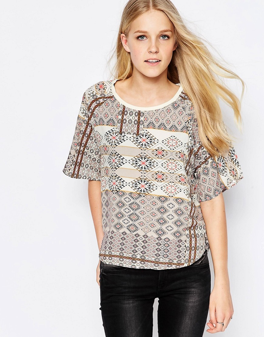 Boho Print 3/4 Sleeve Top Bone White - neckline: round neck; predominant colour: ivory/cream; occasions: casual; length: standard; style: top; fibres: viscose/rayon - 100%; fit: body skimming; sleeve length: half sleeve; sleeve style: standard; pattern type: fabric; pattern: patterned/print; texture group: jersey - stretchy/drapey; pattern size: big & busy (top); multicoloured: multicoloured; season: s/s 2016; wardrobe: highlight
