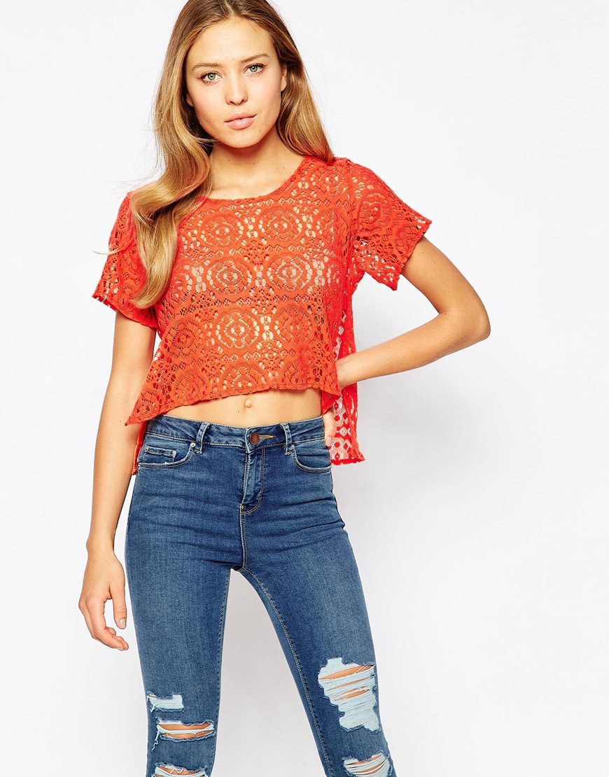 Crochet Crop Top Orange - neckline: round neck; pattern: plain; length: cropped; predominant colour: bright orange; occasions: casual; style: top; fibres: polyester/polyamide - 100%; fit: loose; sleeve length: short sleeve; sleeve style: standard; texture group: knits/crochet; pattern type: knitted - fine stitch; season: s/s 2016; wardrobe: highlight
