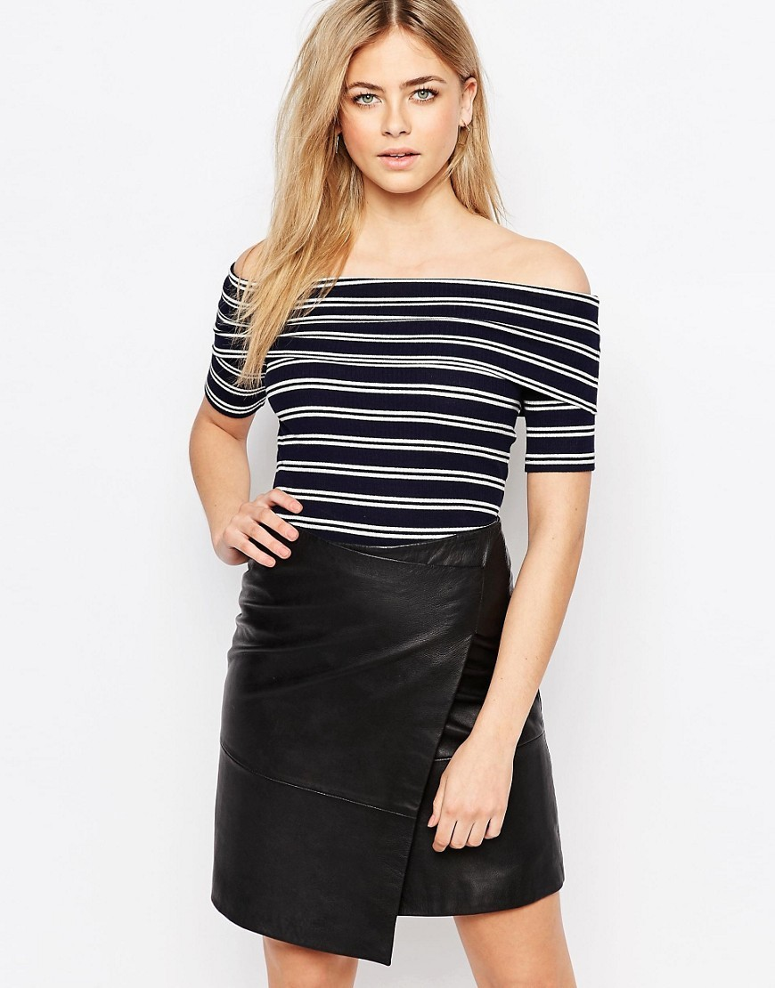 Bardot Rib Top Navy And White - neckline: off the shoulder; pattern: horizontal stripes; secondary colour: white; predominant colour: navy; occasions: casual; length: standard; style: top; fibres: cotton - stretch; fit: tight; sleeve length: short sleeve; sleeve style: standard; texture group: jersey - clingy; pattern type: fabric; season: s/s 2016; wardrobe: highlight