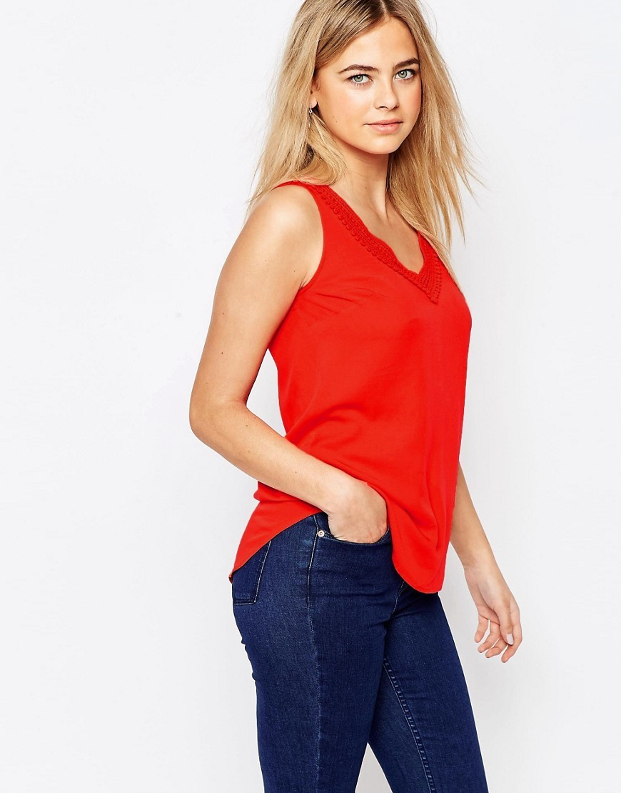 Lace Trim V Neck Shell Top Red - neckline: v-neck; pattern: plain; sleeve style: sleeveless; style: vest top; predominant colour: true red; occasions: casual; length: standard; fibres: viscose/rayon - 100%; fit: body skimming; sleeve length: sleeveless; pattern type: fabric; texture group: jersey - stretchy/drapey; season: s/s 2016; wardrobe: highlight