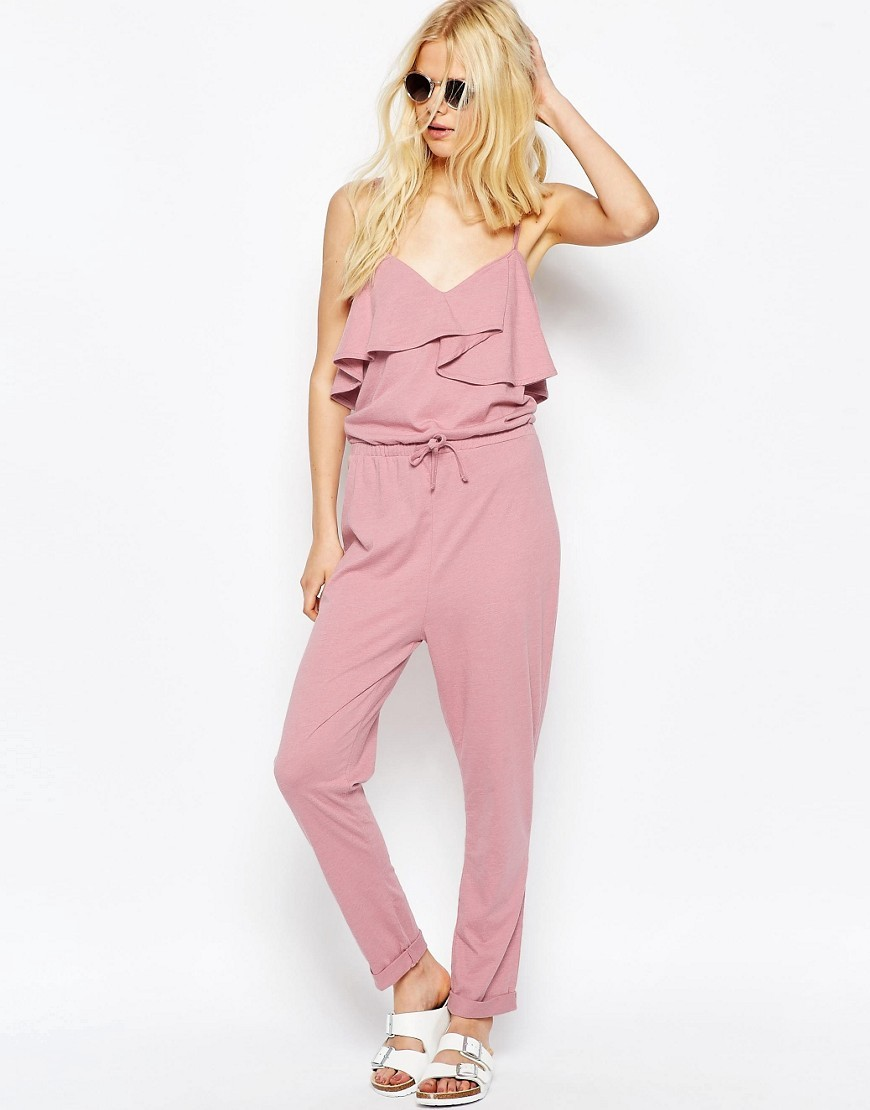 Jersey Jumpsuit With Peg Leg And Ruffle Detail Pink - length: standard; neckline: low v-neck; sleeve style: spaghetti straps; fit: fitted at waist; pattern: plain; predominant colour: pink; fibres: polyester/polyamide - stretch; occasions: occasion; sleeve length: sleeveless; style: jumpsuit; pattern type: fabric; texture group: other - light to midweight; season: s/s 2016
