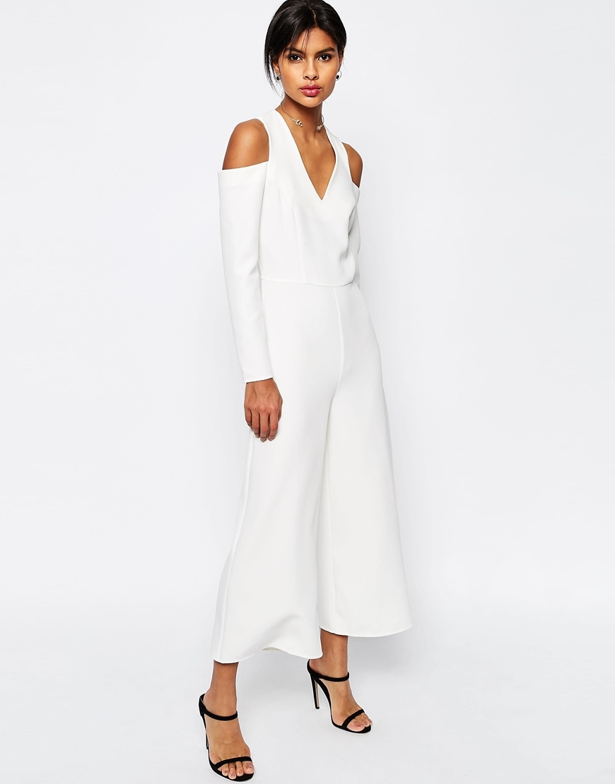 Jumpsuit With Cut Out Shoulder White - neckline: low v-neck; pattern: plain; predominant colour: white; length: ankle length; fit: body skimming; fibres: polyester/polyamide - stretch; occasions: occasion; shoulder detail: cut out shoulder; sleeve length: long sleeve; sleeve style: standard; style: jumpsuit; pattern type: fabric; texture group: woven light midweight; season: s/s 2016; wardrobe: event