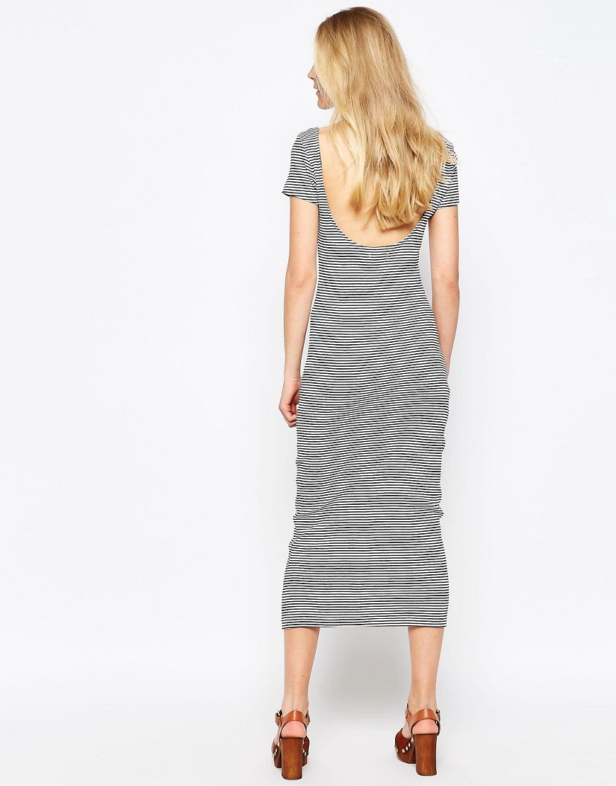 Low Back Stripe Maxi Dress White/Black - length: calf length; pattern: horizontal stripes; style: bodycon; predominant colour: mid grey; occasions: casual; fit: body skimming; neckline: scoop; fibres: cotton - mix; sleeve length: short sleeve; sleeve style: standard; pattern type: fabric; texture group: jersey - stretchy/drapey; season: s/s 2016; wardrobe: basic