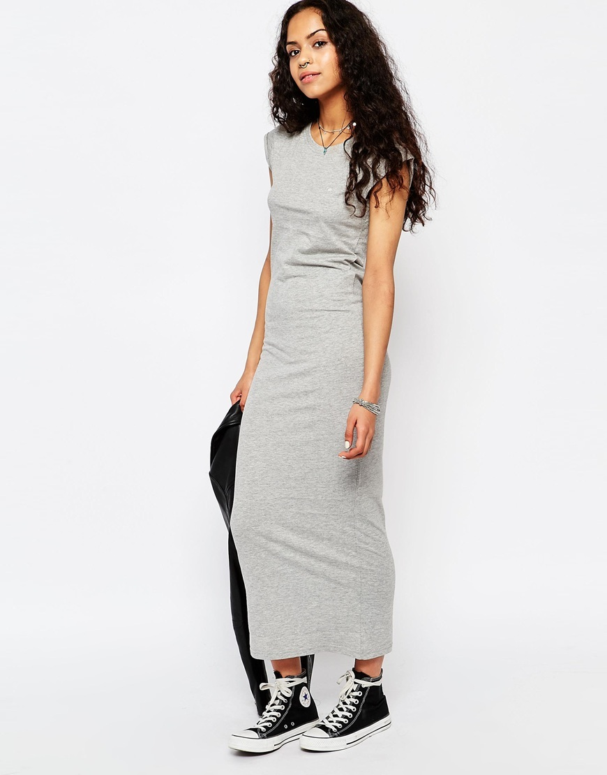 T Shirt Maxi Dress Grey Marl - pattern: plain; sleeve style: sleeveless; style: maxi dress; length: ankle length; predominant colour: light grey; occasions: casual; fit: body skimming; fibres: polyester/polyamide - mix; neckline: crew; sleeve length: sleeveless; texture group: jersey - clingy; pattern type: fabric; season: s/s 2016; wardrobe: basic