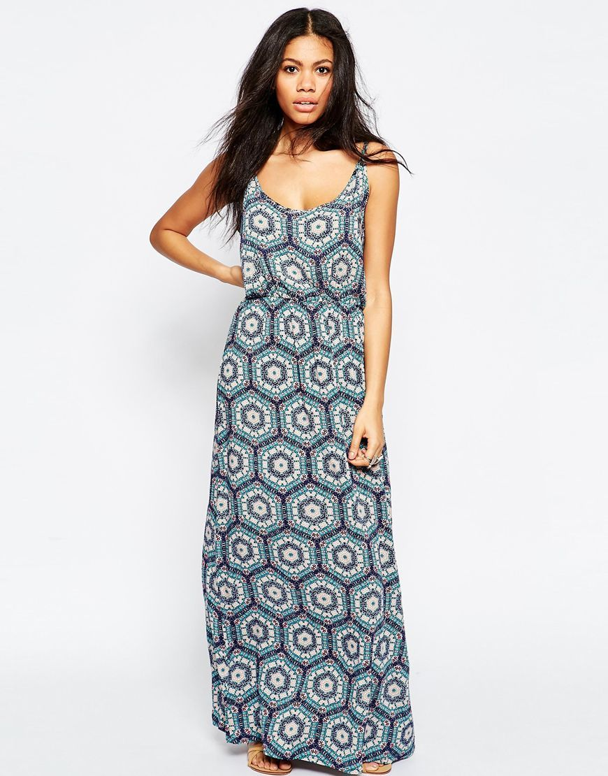 Tile Print Maxi Dress Blue - sleeve style: sleeveless; style: maxi dress; secondary colour: white; predominant colour: denim; occasions: casual; length: floor length; fit: body skimming; neckline: scoop; fibres: viscose/rayon - 100%; sleeve length: sleeveless; pattern type: fabric; pattern: patterned/print; texture group: jersey - stretchy/drapey; multicoloured: multicoloured; season: s/s 2016; wardrobe: highlight