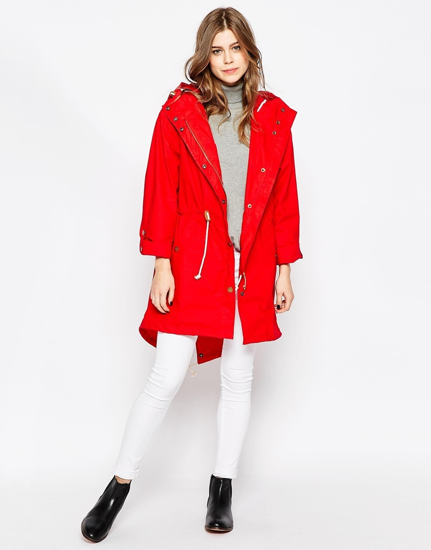 Classic Parka Red - pattern: plain; collar: funnel; fit: loose; style: parka; back detail: hood; length: mid thigh; predominant colour: true red; occasions: casual; fibres: cotton - 100%; sleeve length: long sleeve; sleeve style: standard; texture group: cotton feel fabrics; collar break: high; pattern type: fabric; season: s/s 2016