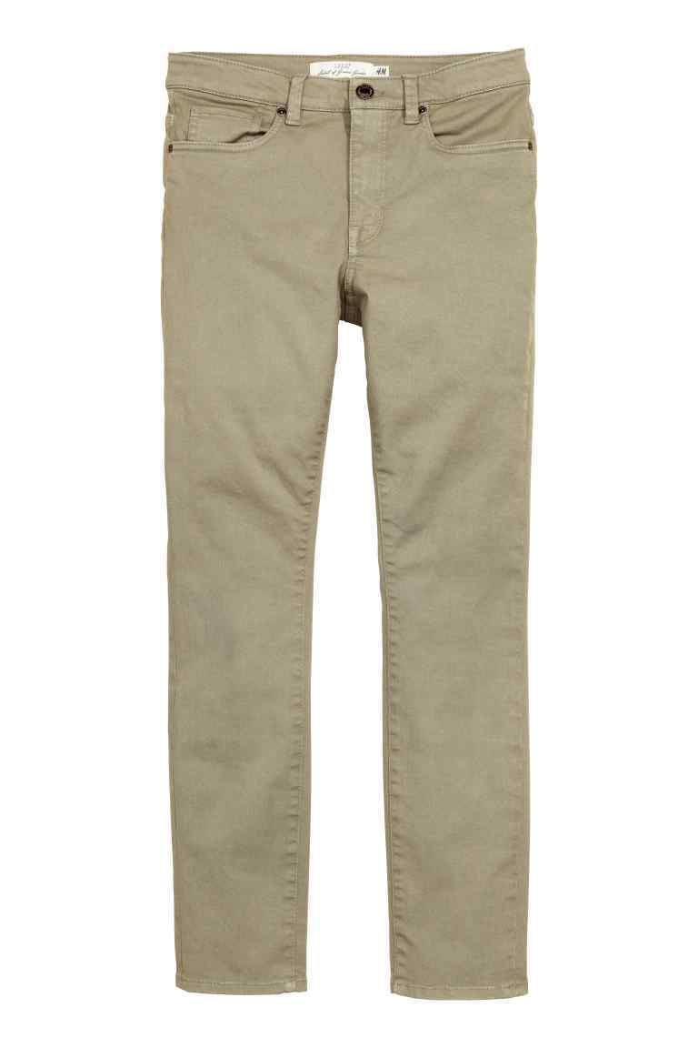Twill Trousers Cropped - pattern: plain; waist: mid/regular rise; predominant colour: stone; occasions: casual, creative work; length: ankle length; fibres: cotton - stretch; fit: slim leg; pattern type: fabric; texture group: other - light to midweight; style: standard; season: s/s 2016; wardrobe: basic