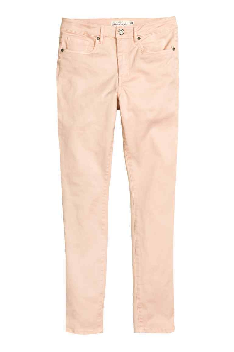 Twill Trousers Cropped - pattern: plain; waist: mid/regular rise; predominant colour: blush; occasions: casual, creative work; length: ankle length; fibres: cotton - stretch; texture group: cotton feel fabrics; fit: slim leg; pattern type: fabric; style: standard; season: s/s 2016; wardrobe: basic