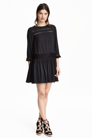 Crinkled Dress - style: smock; length: mini; fit: loose; pattern: plain; predominant colour: black; fibres: polyester/polyamide - 100%; neckline: crew; hip detail: soft pleats at hip/draping at hip/flared at hip; sleeve length: 3/4 length; sleeve style: standard; texture group: crepes; pattern type: fabric; embellishment: lace; occasions: creative work; shoulder detail: sheer at shoulder; season: s/s 2016