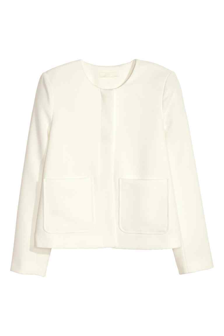 Textured Jacket - pattern: plain; collar: round collar/collarless; style: boxy; predominant colour: ivory/cream; length: standard; fit: straight cut (boxy); fibres: cotton - mix; sleeve length: long sleeve; sleeve style: standard; texture group: cotton feel fabrics; collar break: high; pattern type: fabric; occasions: creative work; season: s/s 2016; wardrobe: highlight; embellishment location: hip