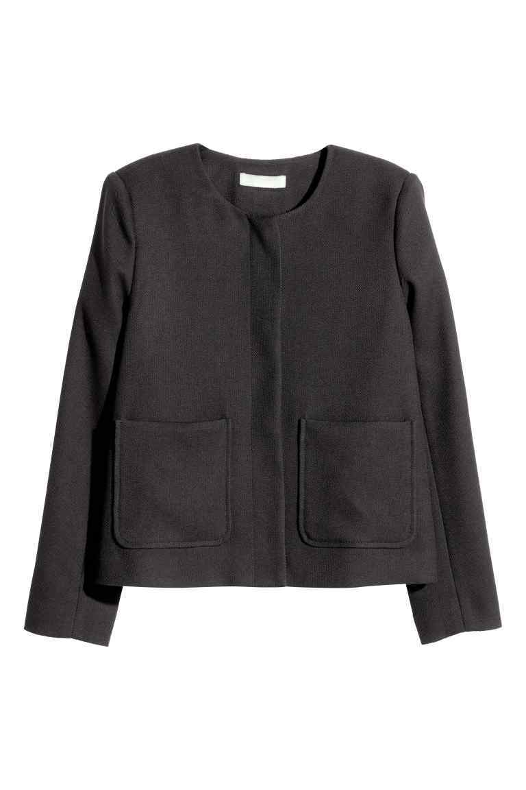Textured Jacket - pattern: plain; style: single breasted blazer; collar: round collar/collarless; predominant colour: black; length: standard; fit: straight cut (boxy); fibres: polyester/polyamide - 100%; sleeve length: long sleeve; sleeve style: standard; collar break: high; pattern type: fabric; texture group: woven light midweight; occasions: creative work; season: s/s 2016; wardrobe: investment