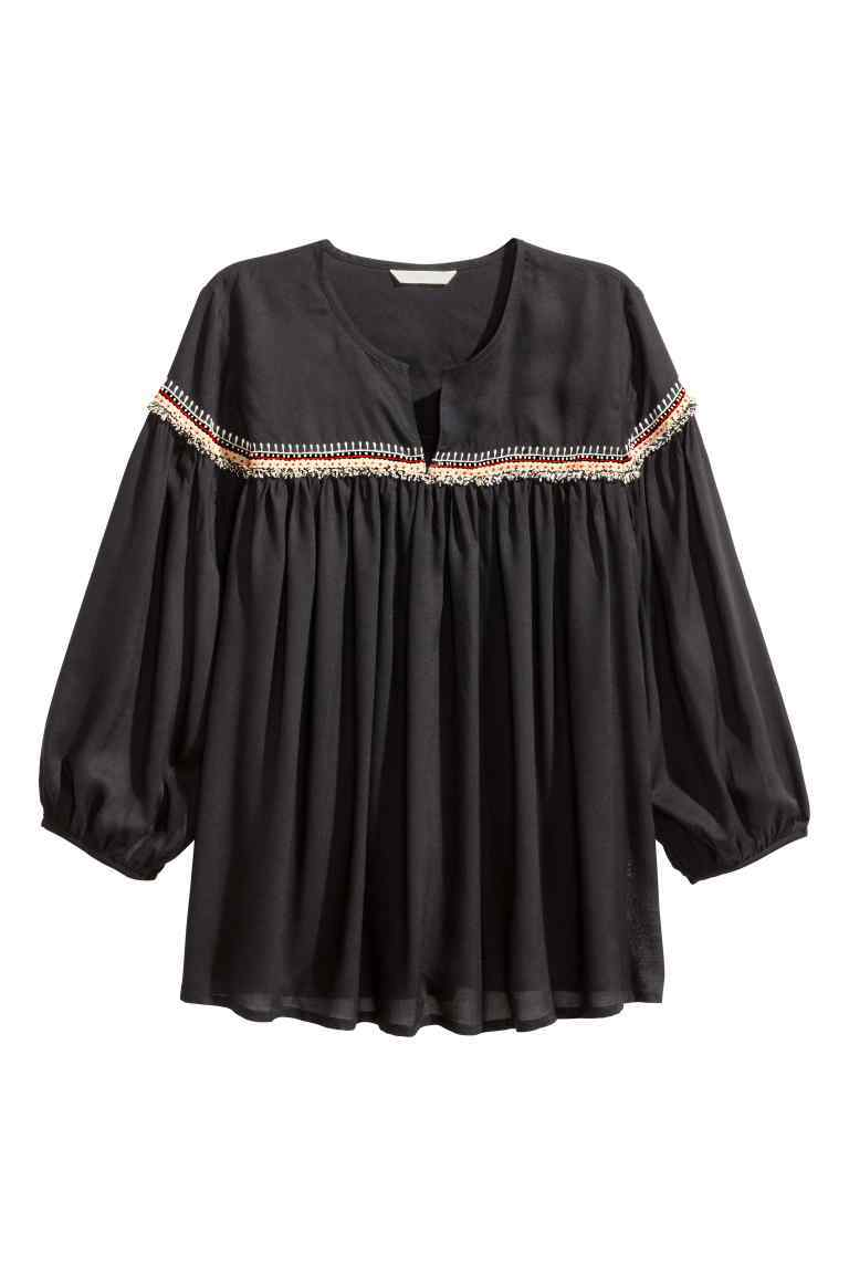 Embroidered Blouse - neckline: round neck; pattern: plain; style: blouse; predominant colour: black; occasions: casual; length: standard; fibres: cotton - 100%; fit: loose; sleeve length: 3/4 length; sleeve style: standard; pattern type: fabric; texture group: other - light to midweight; embellishment: embroidered; season: s/s 2016; wardrobe: highlight