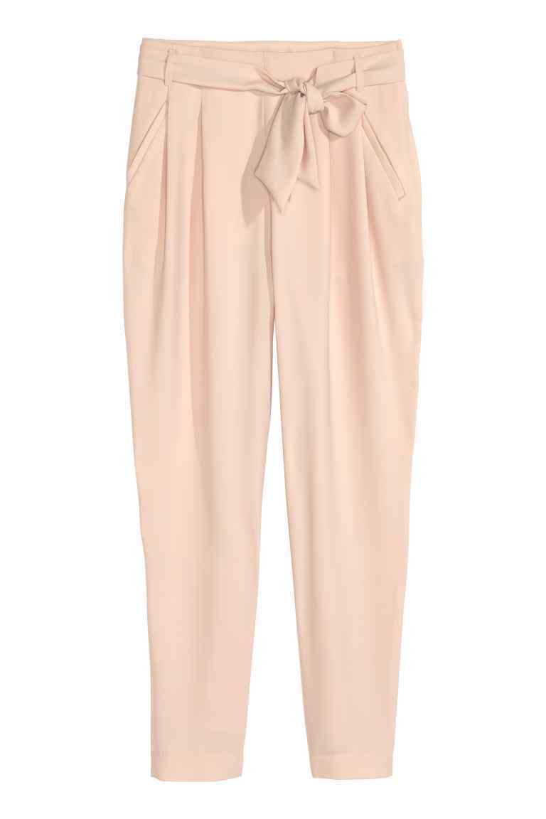 Pleated Trousers - pattern: plain; style: peg leg; waist: mid/regular rise; predominant colour: nude; length: ankle length; fibres: polyester/polyamide - 100%; fit: tapered; pattern type: fabric; texture group: other - light to midweight; occasions: creative work; season: s/s 2016; wardrobe: basic