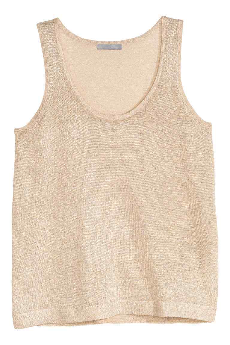Fine Knit Glittery Top - sleeve style: standard vest straps/shoulder straps; pattern: plain; style: vest top; predominant colour: gold; occasions: casual; length: standard; neckline: scoop; fibres: cotton - mix; fit: straight cut; sleeve length: sleeveless; texture group: knits/crochet; pattern type: knitted - fine stitch; embellishment: glitter; season: s/s 2016