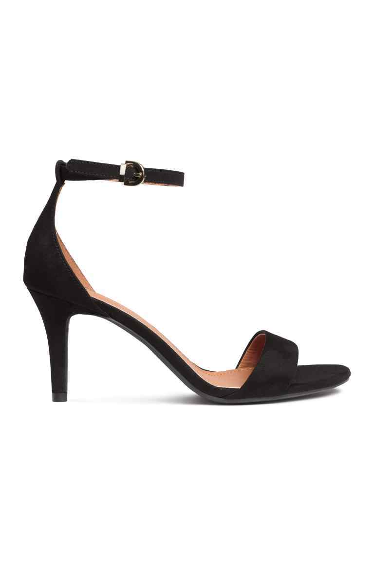 Sandals - predominant colour: black; occasions: evening, occasion; material: suede; heel height: high; ankle detail: ankle strap; heel: stiletto; toe: open toe/peeptoe; style: standard; finish: plain; pattern: plain; season: s/s 2016; wardrobe: event