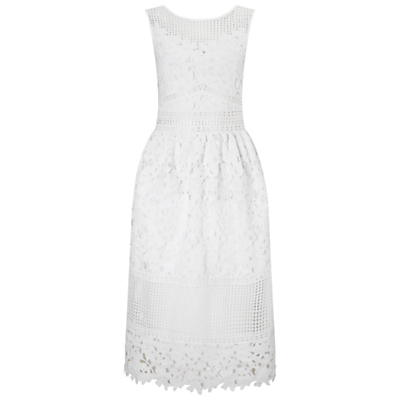 Mixed Lace Midi Dress, White - length: below the knee; neckline: round neck; sleeve style: sleeveless; predominant colour: white; fit: fitted at waist & bust; style: fit & flare; fibres: polyester/polyamide - 100%; occasions: occasion, holiday, creative work; sleeve length: sleeveless; texture group: lace; pattern type: fabric; pattern size: standard; pattern: patterned/print; embellishment: lace; season: s/s 2016; wardrobe: highlight