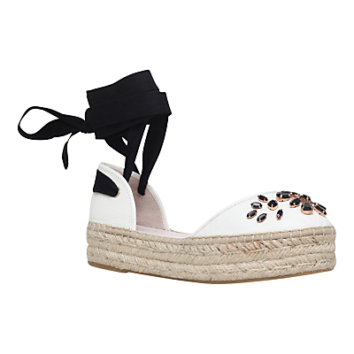 Kathy Flatform Espadrilles - predominant colour: ivory/cream; secondary colour: black; occasions: casual; material: fabric; heel height: flat; embellishment: jewels/stone; ankle detail: ankle tie; toe: round toe; finish: plain; pattern: plain; style: espadrilles; shoe detail: platform; season: s/s 2016; wardrobe: highlight