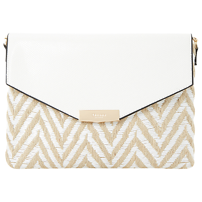 Enid Clutch Bag, White - predominant colour: ivory/cream; occasions: evening, occasion; type of pattern: heavy; style: clutch; length: hand carry; size: small; material: fabric; pattern: striped; finish: plain; season: s/s 2016; wardrobe: event